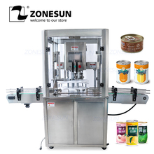 ZONESUN Tin Aluminum Can Food Fruit Glasses Screw Plugging Tinplate Cover Automatic Capping Machines Sealing Packing Machines