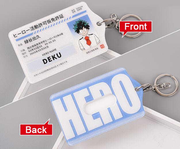 Mijn Hero Academia Bus IC ID Kaarthouder Cover Sleutelhanger Sleutelhanger Sleutelhangers Charms Hanger Cartoon Boku geen Hero academia Geschenken Nieuwe