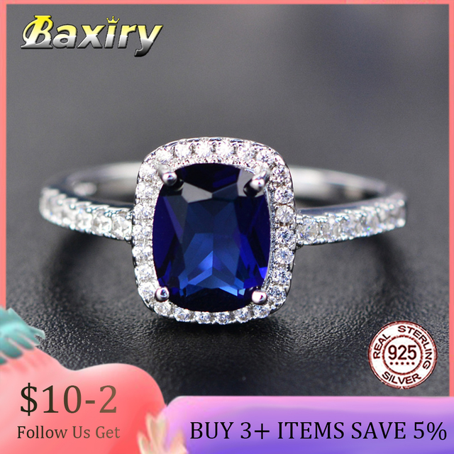 Trendy Aquamarine 925 Sterling Silver Ring Wedding Engagement Rings For Women 925 Silver Blue Sapphire Natural Luxury Jewelry 1