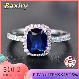 Trendy Aquamarine Amethyst Rings 925 Sterling Silver Woman Gemstone Silver 925 Ring Natural For Jewelry Blue Sapphire Ring Party(China)