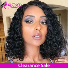 MSCOCO Curly Bob Wig Water Wave Bob Lace Front Wig Short Bob Lace Front Human Hair Wigs Remy Brazilian Curly Human Hair Wig(China)