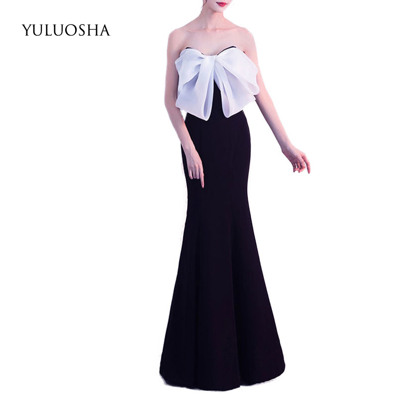 YULUOSHA Evening Dress 2020 Sexy Strapless Backless Evening Party Prom Formal Gown Long Trumpet Dresses Vestidos Robe De Soiree