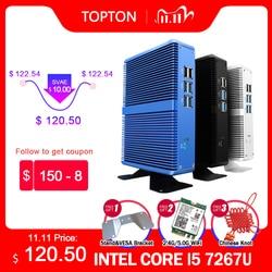 Topton Cheapest Mini PC Intel i5 7267U Pentium 4415U Fanless Desktop Windows 10 Barebone Computer Linux 4K HTPC VGA HDMI WiFi