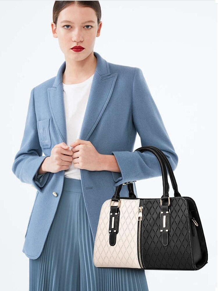 Flap-Bag Patchwork-Bags Messenger Luxury Handbags Crossbody Black Soft Women Fashion