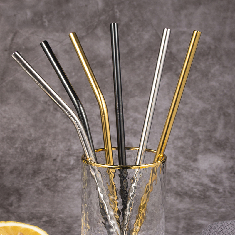 Image 2 - Reusable Metal Drinking Straws 4/8Pcs 304 Stainless Steel Sturdy Bent Straight Drinks Straw-in Drinking Straws from Home & Garden