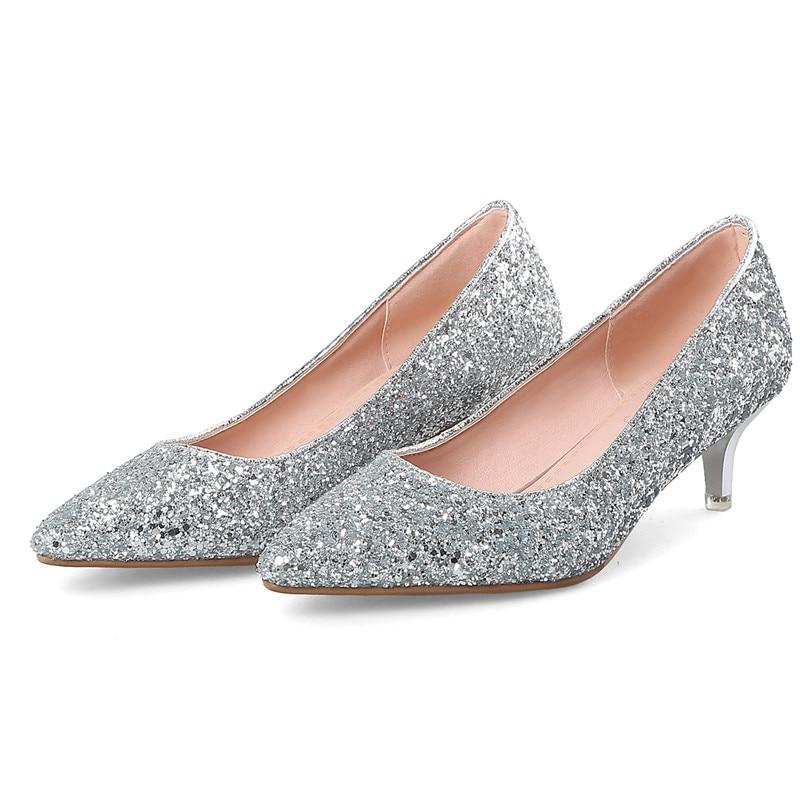 Coolulu Womens Glitter Low Block Heel Pumps Slip On Pointed Toe Wedding Shoes