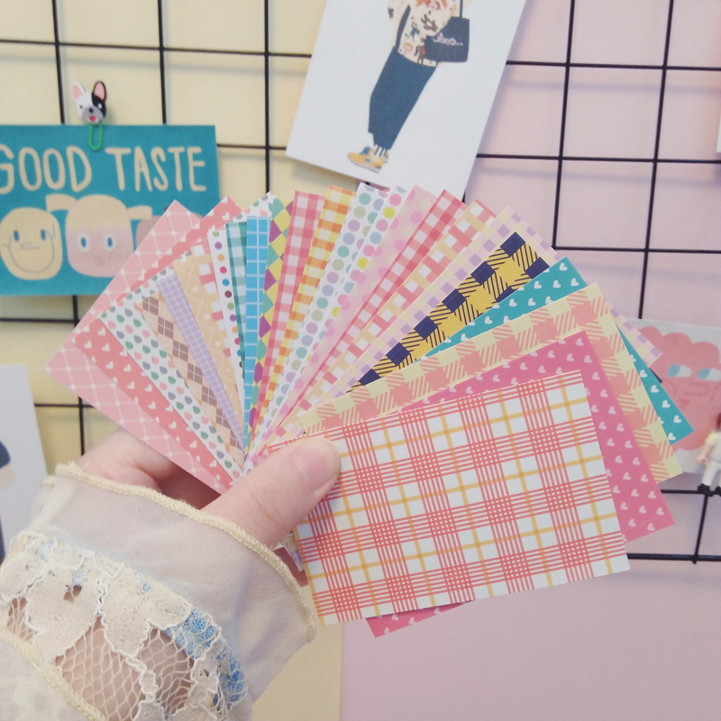 10Pcs/Lot Cartoon Cute Korea Style Ins Grid Peach Heart Sticker DIY Scrapbooking Album Diary Label Decoration Stickers