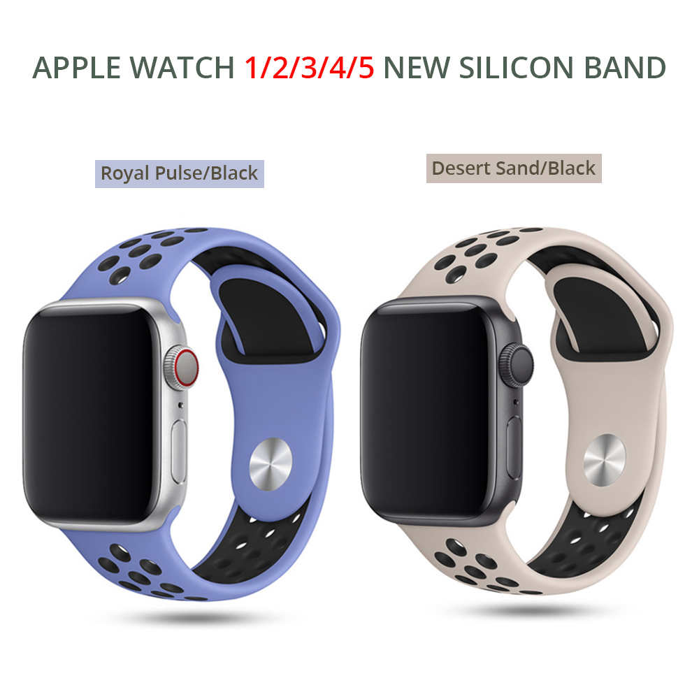 New Sports Silicone Band For Apple Watch 5 4 44mm 40mm Nike Watchstrap Band For Iwatch Series 5 3 2 1 42mm 38mm In Metal Buckle