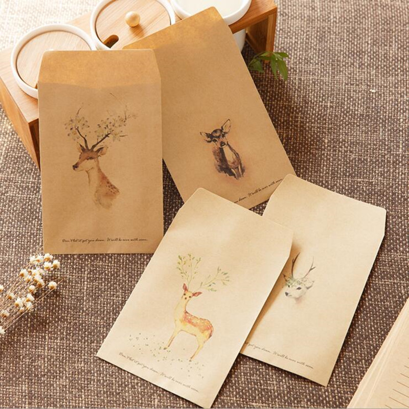 10pcs/lot Cute Forest Deer Envelope Paper Postcards Greeting Card Stationery School Supplies Gift Envelope Sobres Invitacion