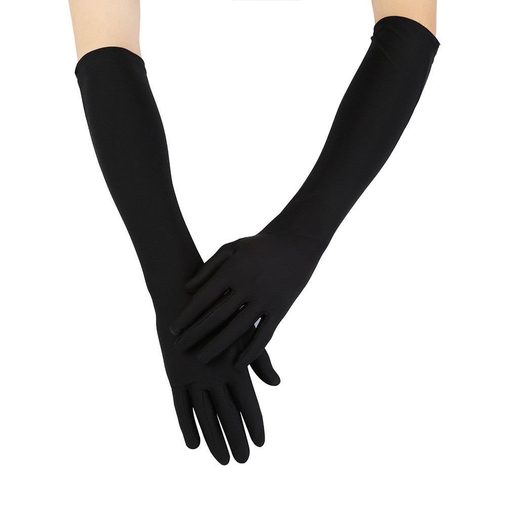Beauty Lady Dance Long Gloves Opera Fine Satin Evening Party Prom Costume Gloves Girl's Party Gloves 4 Colors