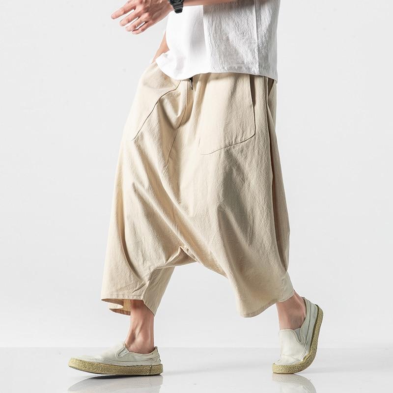 Autumn Europe Men Plus Size Casual Lantern Haren Pants Vintage Cotton Linen Wide Leg Pants Female Elastic Waist Pantalones Trous