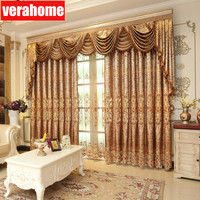 1set European luxury brown curtains voile embroidery sheer tulle for living room bedroom windows valance