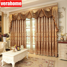 European luxury brown curtains voile embroidery sheer tulle for living room bedroom windows valance цена и фото