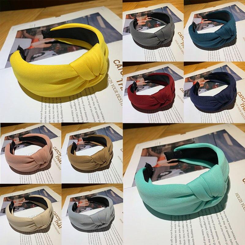 2020 Neon Yellow Wide Hairbands Turban Cross Knot Headband Women Headwear Hair Accessories Thick Headwrap Hoop