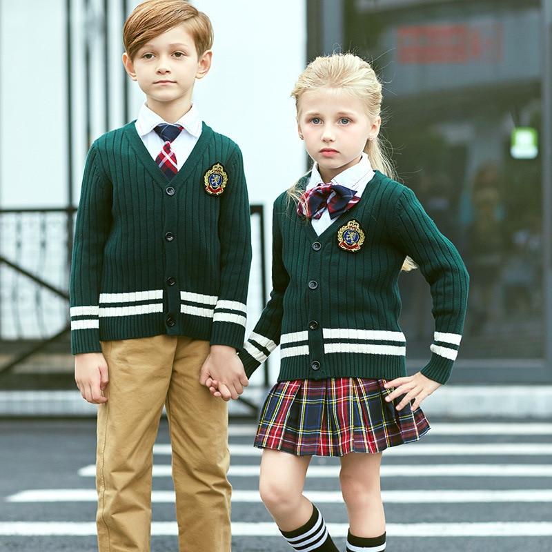 New Style Children School Uniform British-Style College V-neck Cardigan Kindergarten Suit Set Primary School Business Attire