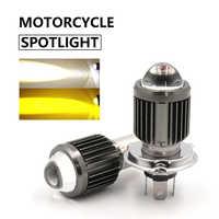 BA20D-bombillas LED H4 para faro de motocicleta, luz antiniebla de lente de condensación, Hi Lo, 3000K, 6000K, accesorios para Scooter ATV