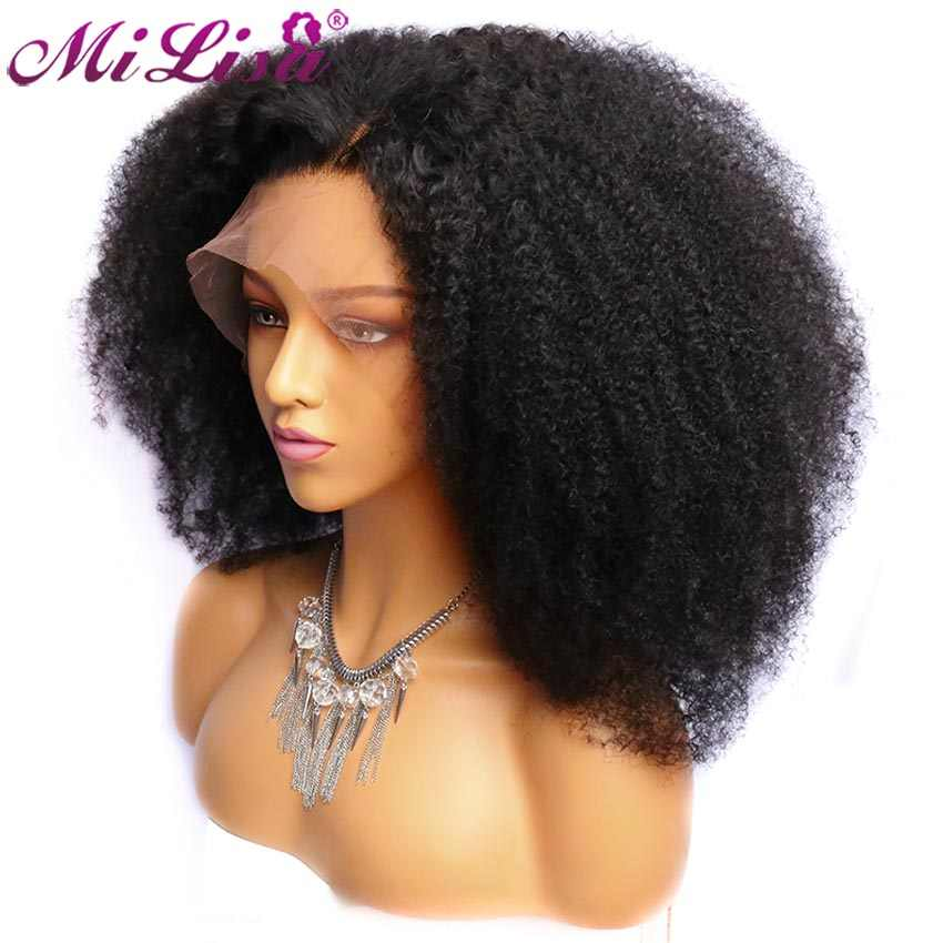 Brazilian Afro Kinky Curly Wigs Pre Plucked with Baby Hair Curly Lace Front Human Hair Wigs For Black Women Kinky Curly Wig Remy