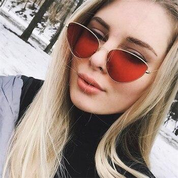 2020 neue Cat Eye Metall Sonnenbrille Retro Mode Männer und frauen Sonnenbrille Rot Schwarz Straße Schießen Stilvolle Sonnenbrille
