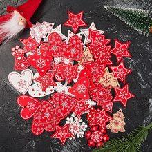 Z liny 10 sztuk partia 5cm nowy rok naturalne drewno ozdoby świąteczne zawieszki wiszące prezenty Xmas Tree Decor Home Decoration 62082 tanie tanio CN (pochodzenie) Christmas ornaments