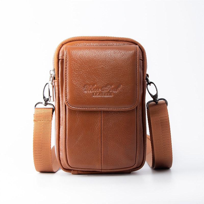 Men 39 s Shoulder bag Leather material British Casual Fashion Style High quality Design Multi functional Large capacity