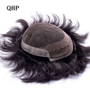 FRENCH LACE With PU Mens Toupee Remy Indian Hair Replacement System Human French Lace Super Hairpieces Wig Handmade bymc black mens toupee 6 inch mixed 40% white human hair natural hairline pu replacement system with clipscorta pelo hombre