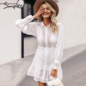 Image 3 - Simplee Elegant cotton lace women dress Long lantern sleeve ruffle A line white short dress Hollow out party winter dresses 2019
