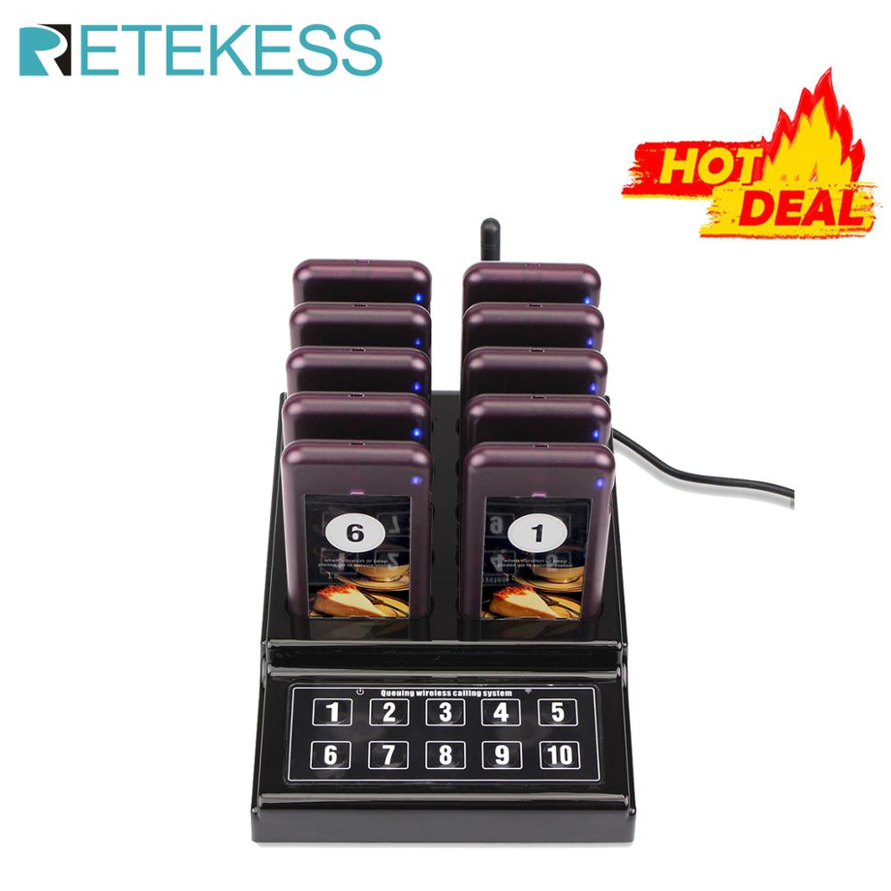 RETEKESS Restaurant Pager Wireless Waiter Paging Queuing Calling System Buzzer Quiz Pager For Guest With10 Pager For Cafe Church