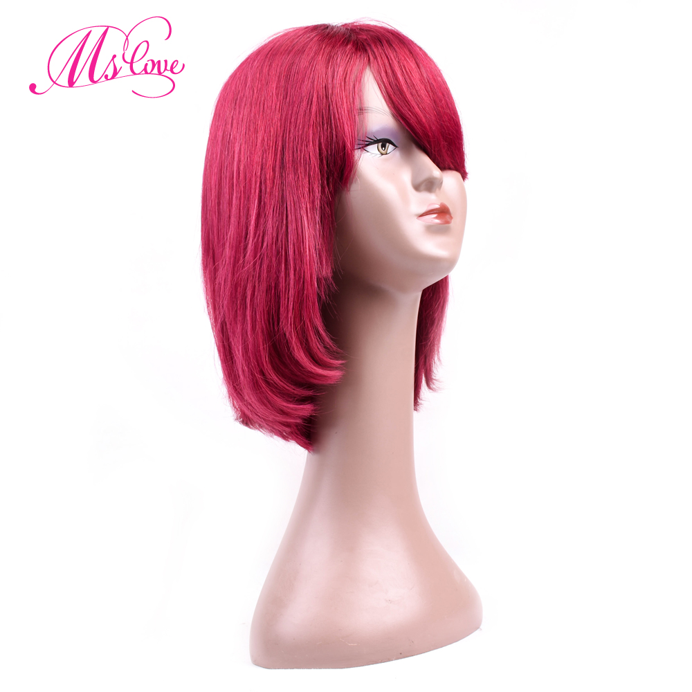 Ms Love Machine Made 12 Inch Medium Ratio Straight Short Human Hair Wigs Bob Brazilian Wig Non-Remy Burgundy Color