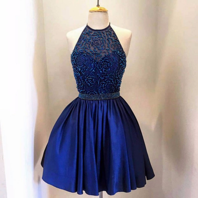 Blue Halter Homecoming Dresses Backless Beads Stain 8th Grade Prom Short Semi Formal Gowns Cheap
