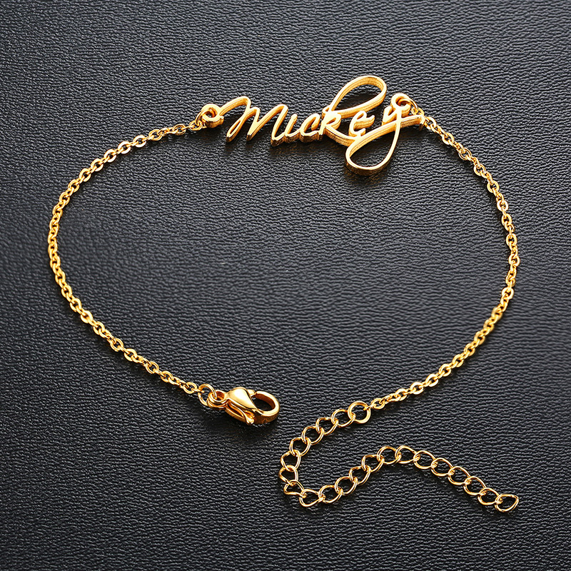 Trendy Personalized Name Charm Bracelet Women Anniversary Jewelry Adjustable Chain