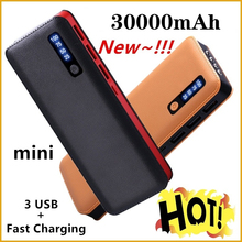 Power Bank 30000mAh Powerbank External Battery Portable Fast Charger for All Smartphone with Charger Bank Triple USB Waterproof