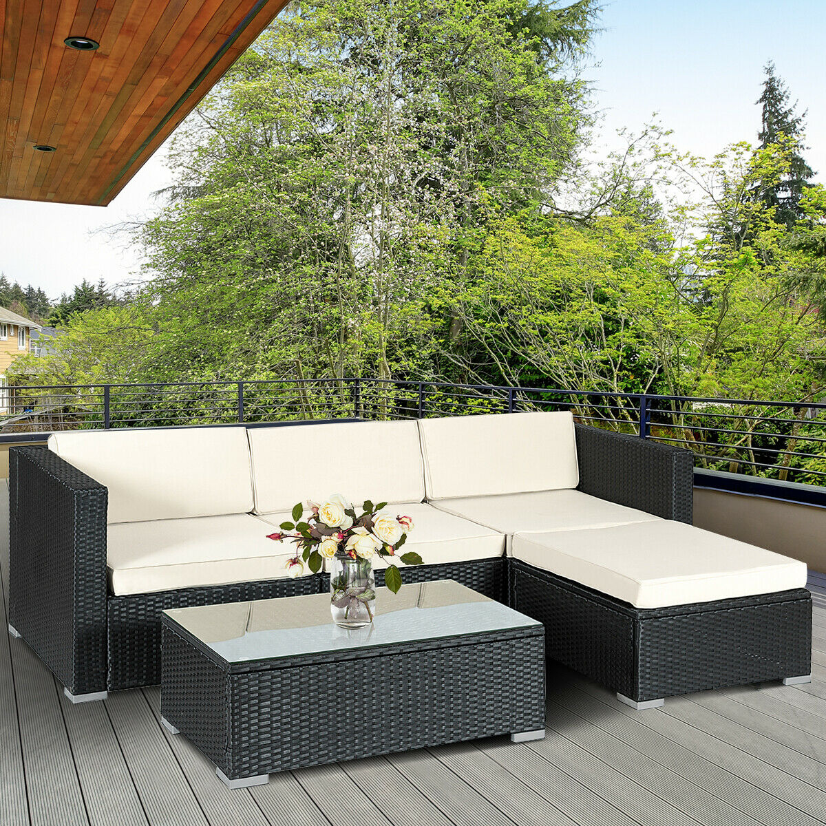 Costway 5 PCS Patio Furniture Set Rattan Wicker Table Shelf Garden Sofa W/ Cushion Black