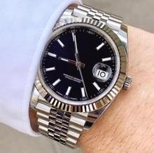 Marca de luxo relógio masculino 41mm ss preto data 2813 mecânico automático apenas topo desinger masculino relógios homem pulso
