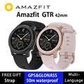 Küresel sürüm Huami Amazfit GTR 42mm akıllı saat 5ATM Smartwatch 12 gün pil GPS müzik kontrol cihazı için Xiaomi Android IOS