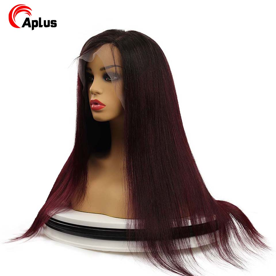 99J Ombre Pre Plucked 13x4 Lace Front Human Hair Wigs With Baby Hair Straight Remy Hair Brazilian Colored Wigs Bleached Knots