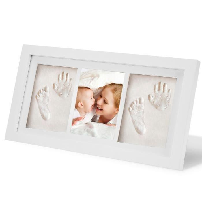 Sallybaby Baby's Hands And Feet Mold Hand Footprint Mud Wooden Photo Frame With Cover Hand And Foot Print Mud Set