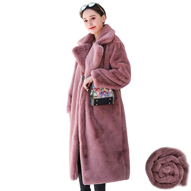 Musim Dingin 2020 Baru Fashion Imitasi Bulu Kelinci Mantel Panjang Jaket Bulu Wanita Kasual Longgar Plus Ukuran Menebal Hangat Jaket Mantel pakaian