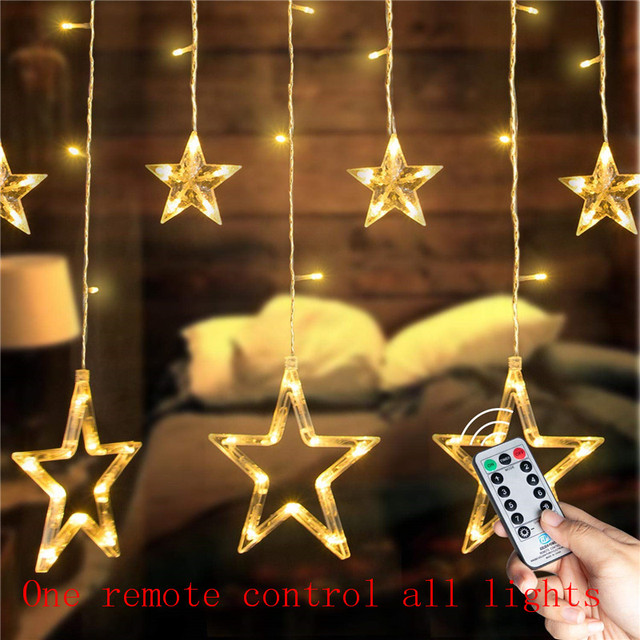 מרחוק LED וילון אורות 12 כוכב 138 LED חלון נטיף קרח מחרוזת אור 8 מצב זר חג המולד אורות חיצוני תפאורה חתונה בית