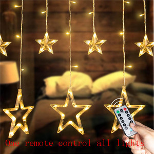 Image 1 - Remote LED Curtain Lights 12 Star 138 LED Window Icicle String Light 8 Mode Garland Christmas Lights Outdoor Decor Wedding Home