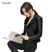 Fitaylor Jacket Biker Faux-Leather Autumn Women Moto Casual Soft Spring Slim PU