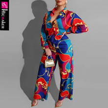 Women Chain Printed Bodycon Wide Leg Jumpsuit Casual Chic Elegant Long Sleeve Spring Fall Fashion Street Wear Female Overall(China)