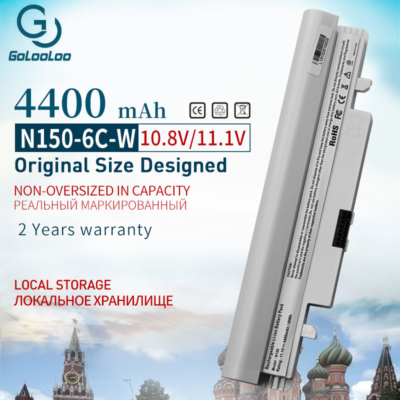 Golooloo 10.8V 4400mAh 6Cells White Laptop Battery for SAMSUNG N143 N145 N148 N150 N250 N250P N260 N260P Plus|Laptop Batteries| |  - title=