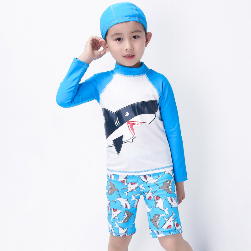 KID'S Swimwear BOY'S Swimming Trunks Set Long Sleeve Split Type Tour Bathing Suit South Korea Baby Sun-resistant Swimwear With S