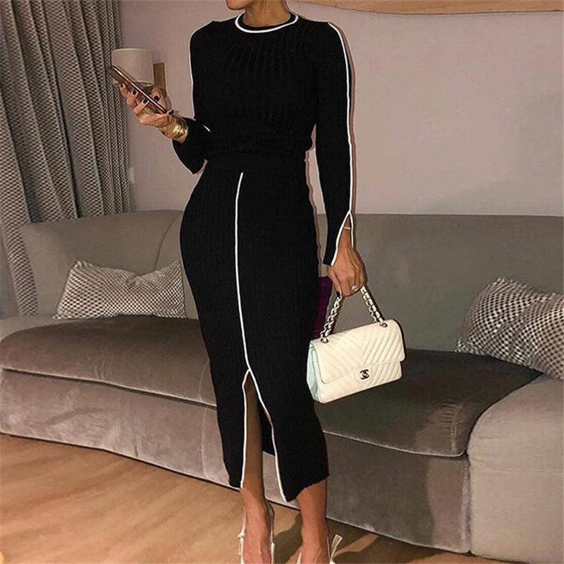 Women Elegant Long Sleeve Tops & Bottom Split Bodycon Dress Autumn Casual 2 Piece Dress Classy Modern Ladies Outfits Streetwear