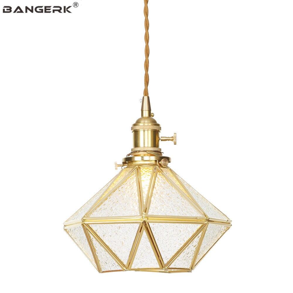 Loft Decor Copper Pendant Light LED Vintage Brass Glass Adjust Hanging Lamp Fixtures Living Dining Room Bar Home Lighting