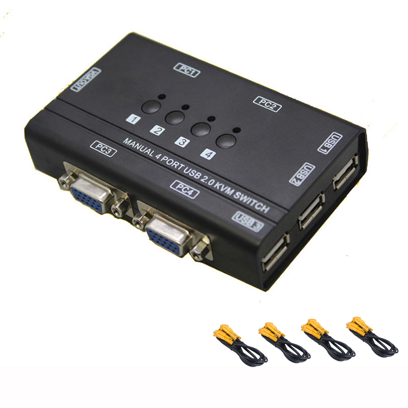 4 Port USB2.0 Kvm Switch Manual Control 4 PC Hosts By 1 Set Of USB Keyboard Mouse And VGA Monitor Multi PC Manage Send Cables