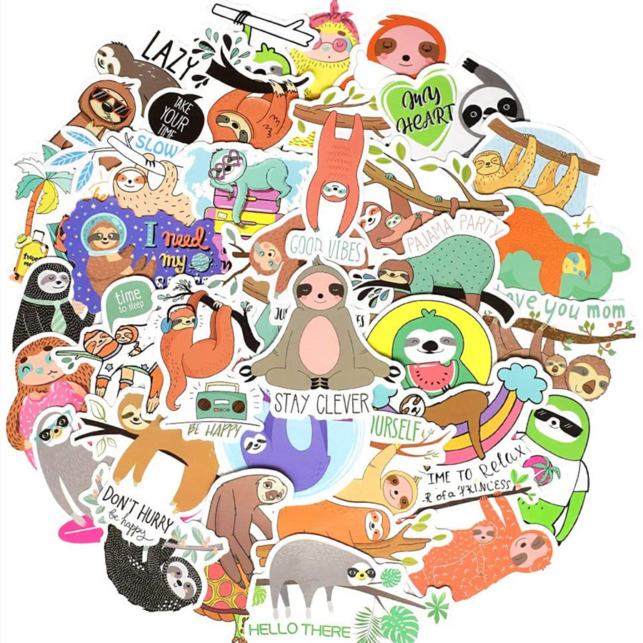50 PCS Cartoon Sloths Stickers for Laptop Car Bicycle Guitar Fridge Luggage Phone Ps4 Waterproof Cute Animals Sticker Decals