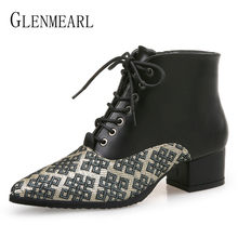 Women Ankle Boots Brand Female Winter Shoes  Heels Mixed Colors Lace Up Pointed Toe Casual 2019 New Arrival DE