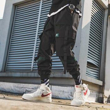 2020 New Hip Hop Joggers Cargo Pants Men Harem Pants Multi-Pocket Ribbons Man Sweatpants Streetwear Casual Mens Pants S-6XL - XXXL, 892Black