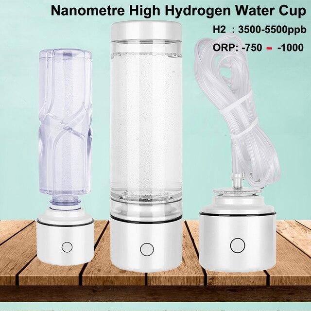 SPE/PEM Nano Hydrogen Rich Generator Alkaline Water Ionizer Bottle 5500PPB Healthy Portable Multifunction Pure H2 Gas Ventilator